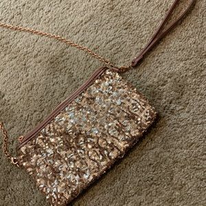 Charming Charlie Rose Gold Crossbody Wristlet